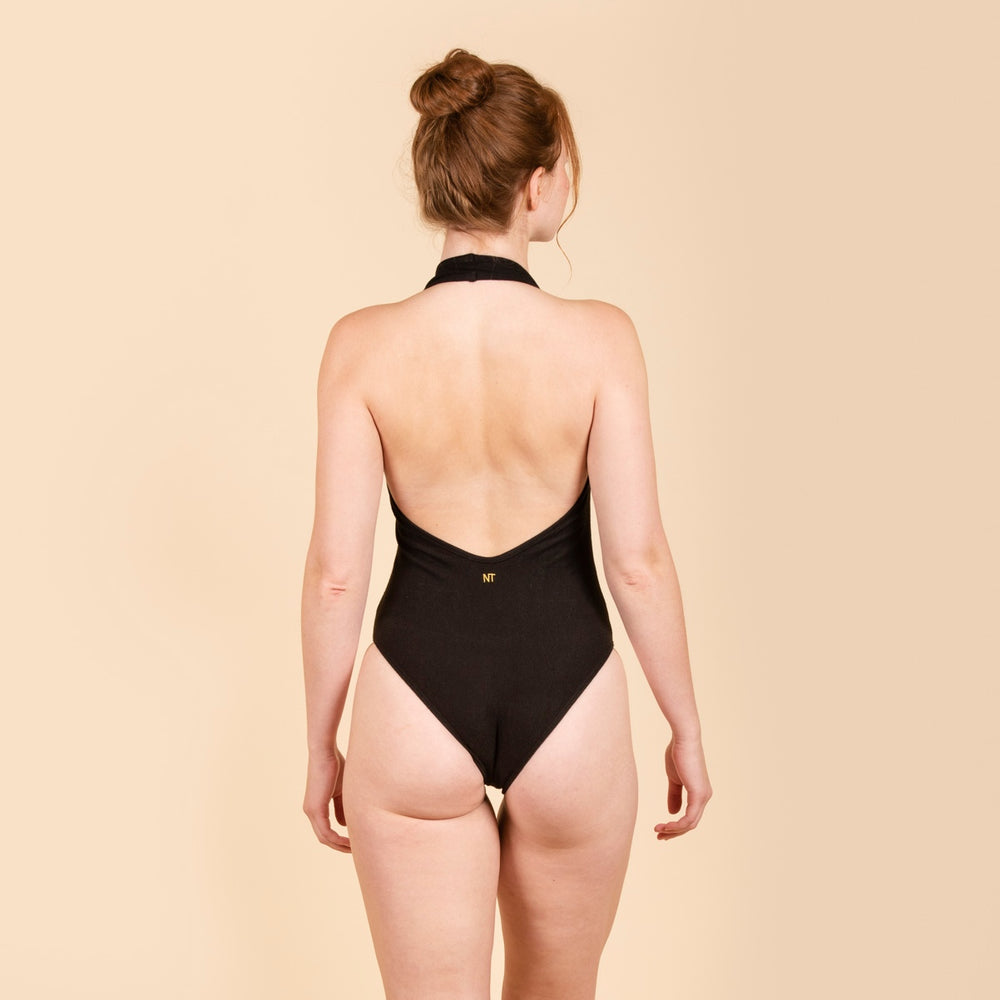 NATASHA TONIC Halterneck V Swimsuit in Black