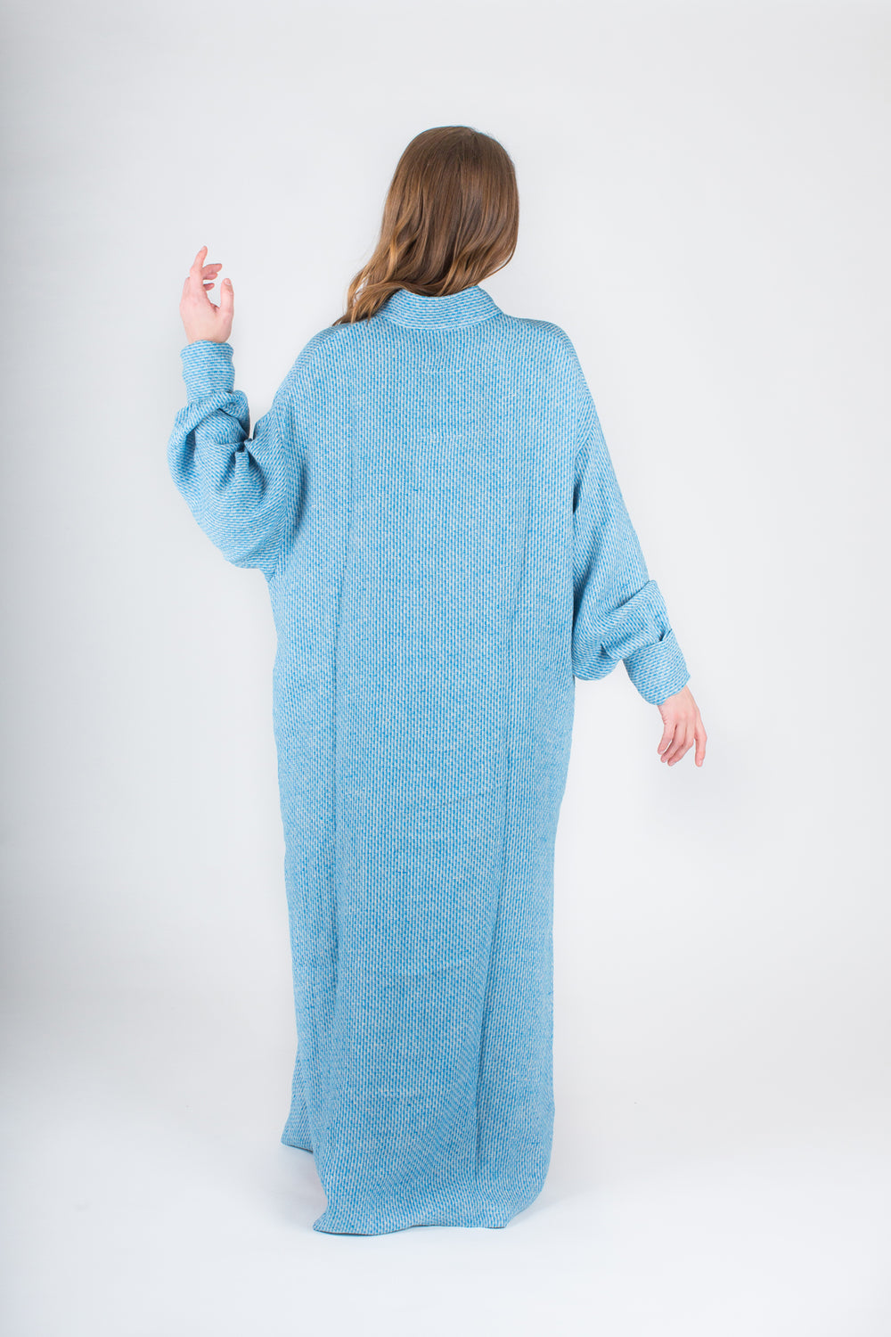 YUME Anais Woven Linen Kaftan in Turquoise