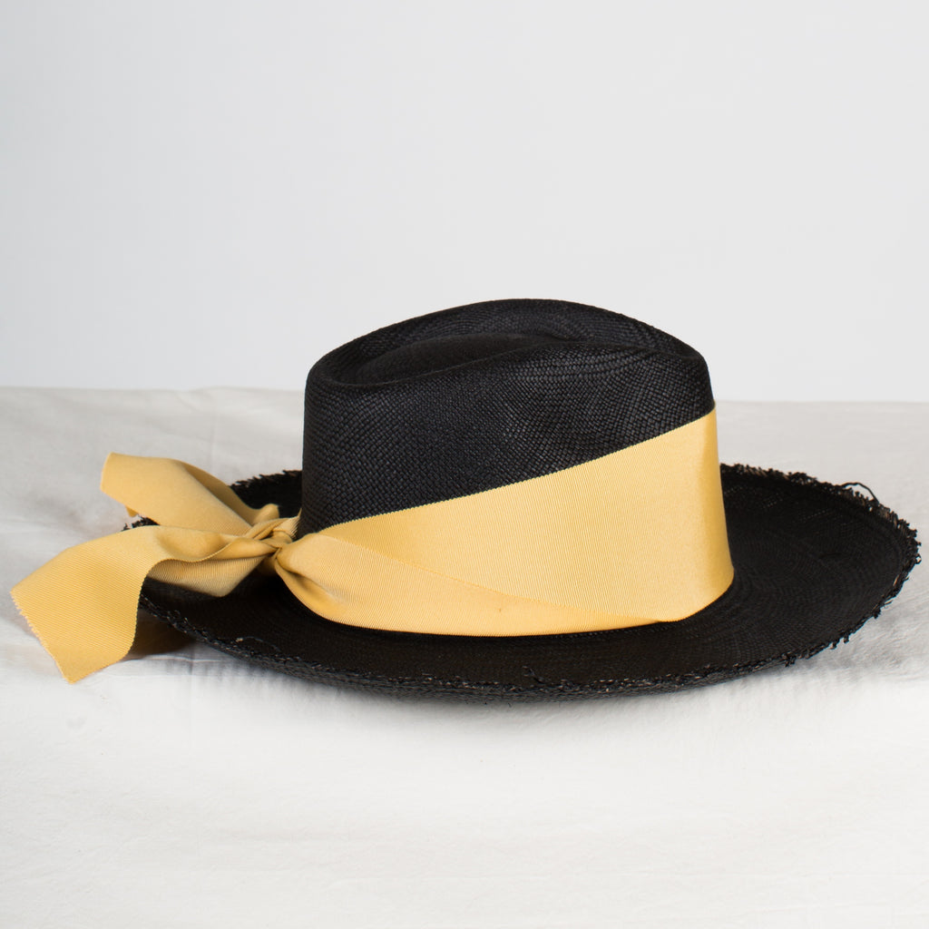 SENSI STUDIO Aguacate Long Brim Frayed Panama Hat in Black