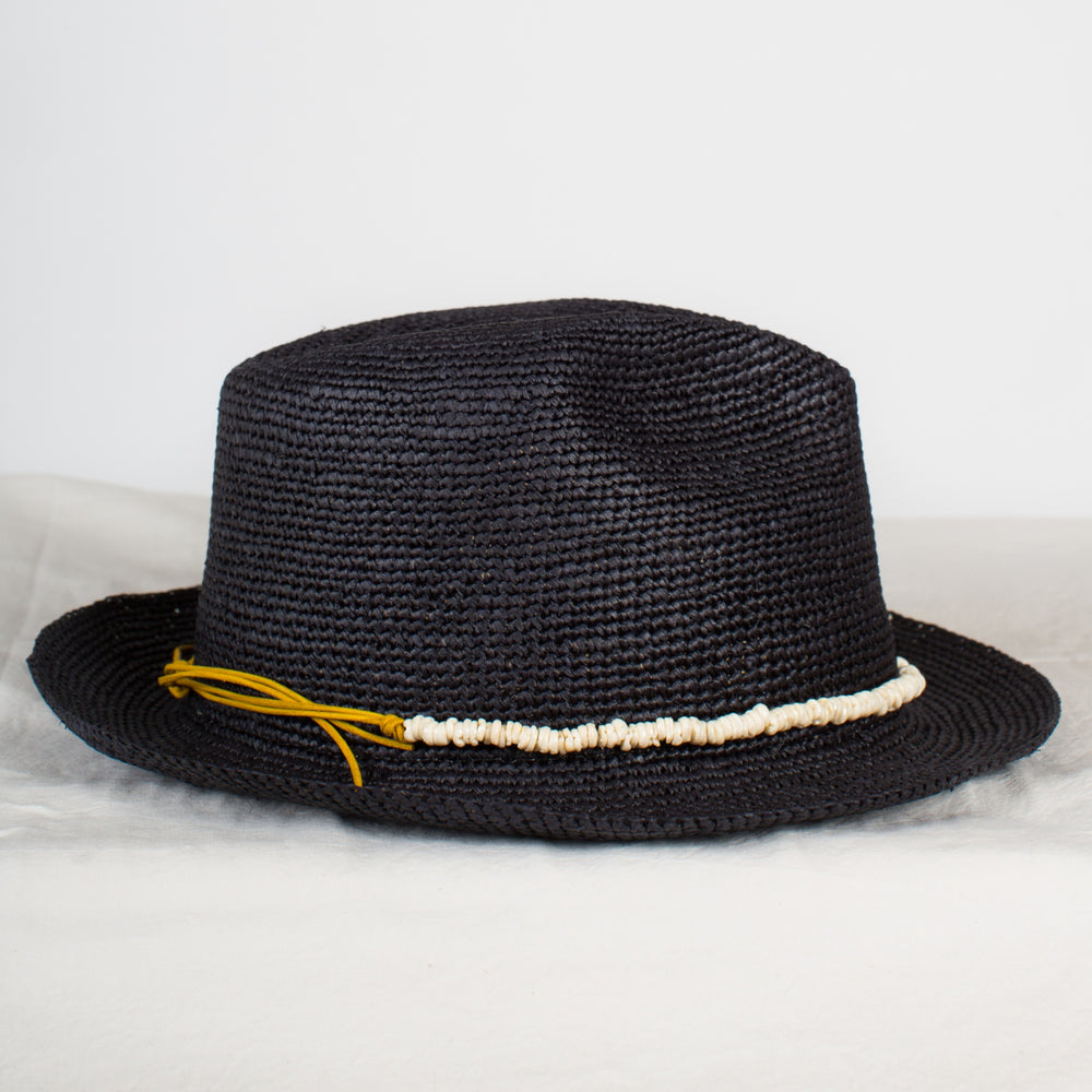 SENSI STUDIO Black Crochet Panama Hat with Shell Band
