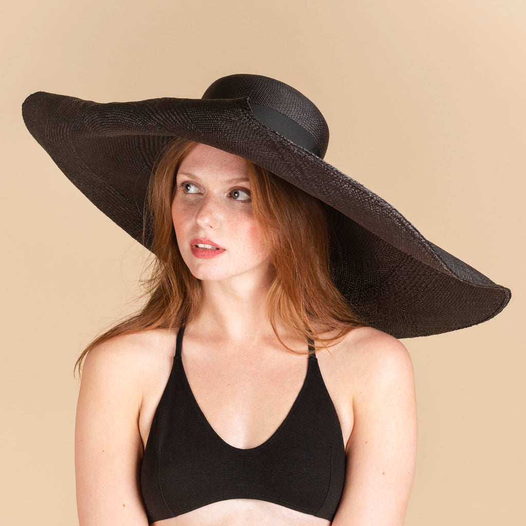 SENSI STUDIO Black Straw Long Brim Glamour Hat