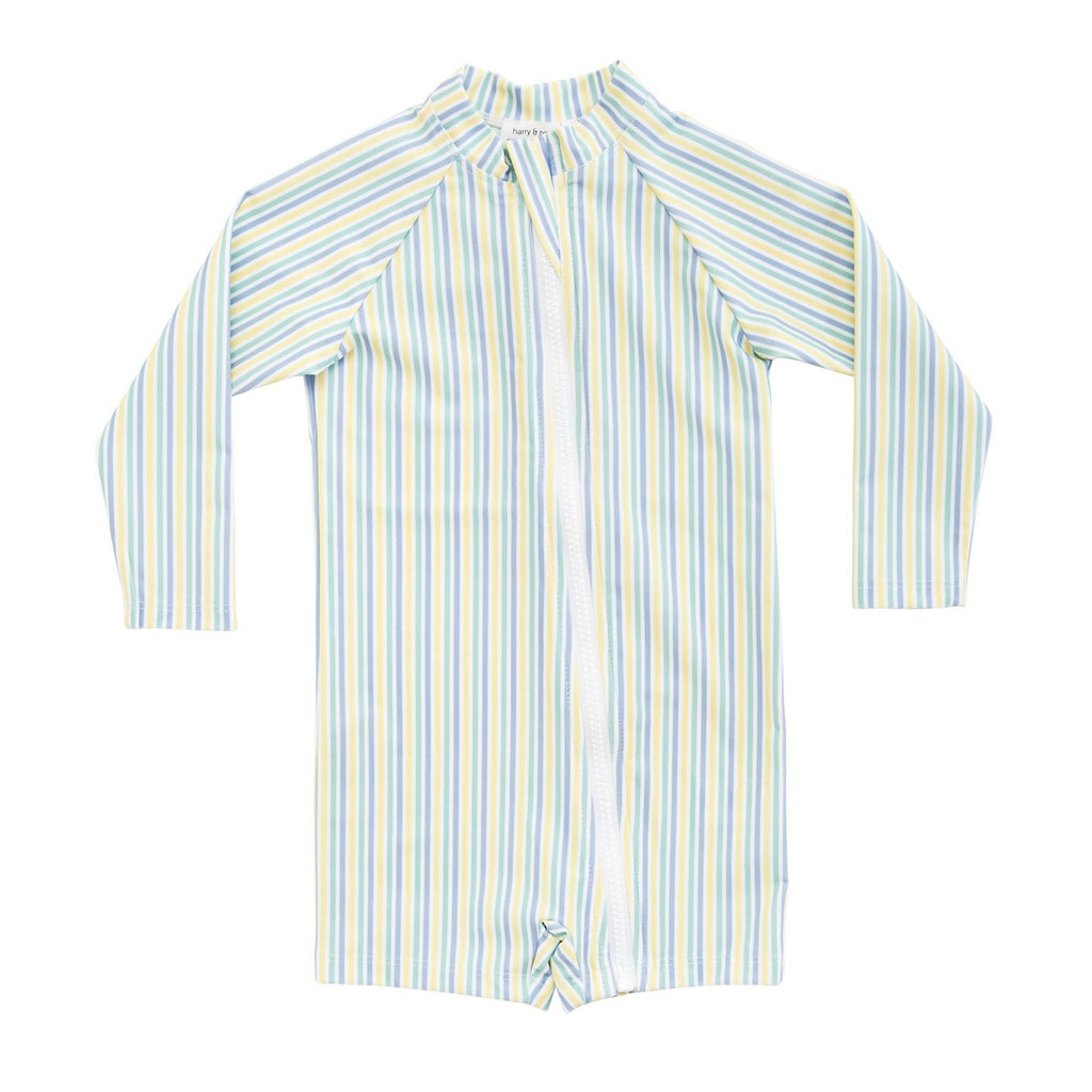HARRY & POP Baby Sunsuit Bondi in Blue Stripe
