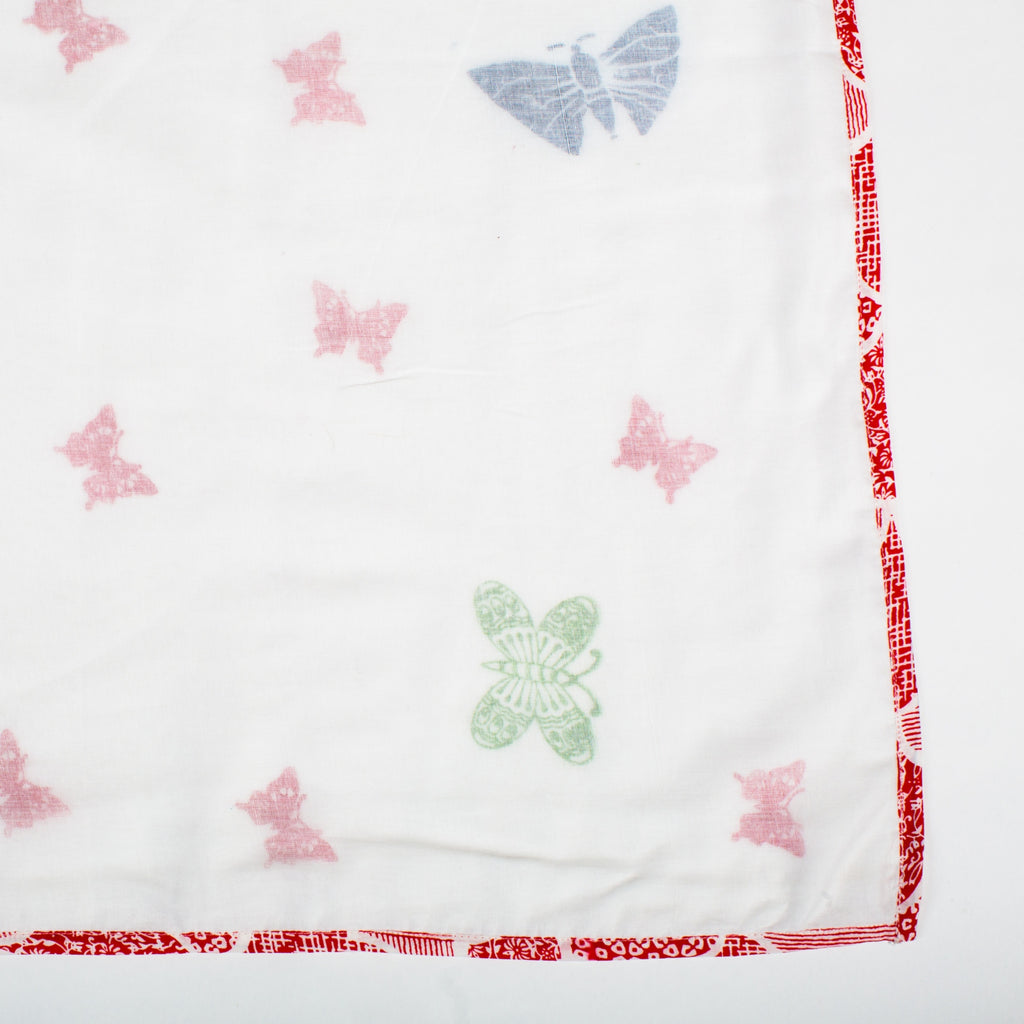Triple Layer Muslin Shawl in Butterfly Garden
