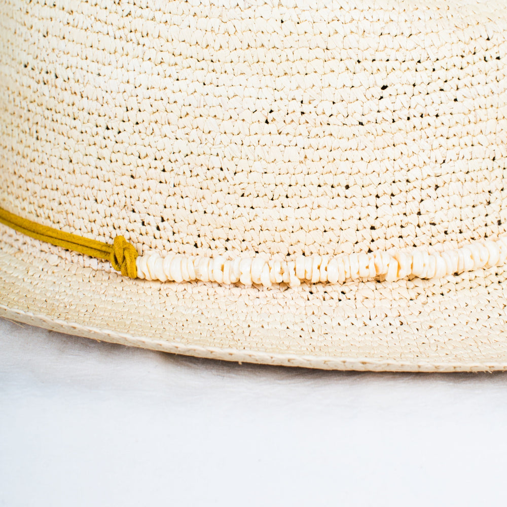 SENSI STUDIO Natural Crochet Panama Hat with Shell Band