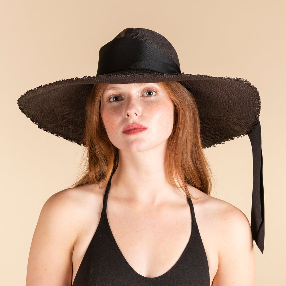 SENSI STUDIO Black Frayed Long Brim Panama Maxi Bow