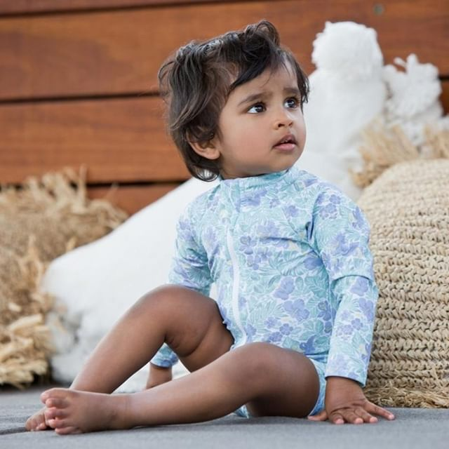 HARRY & POP Baby Sunsuit in Freshwater Floral