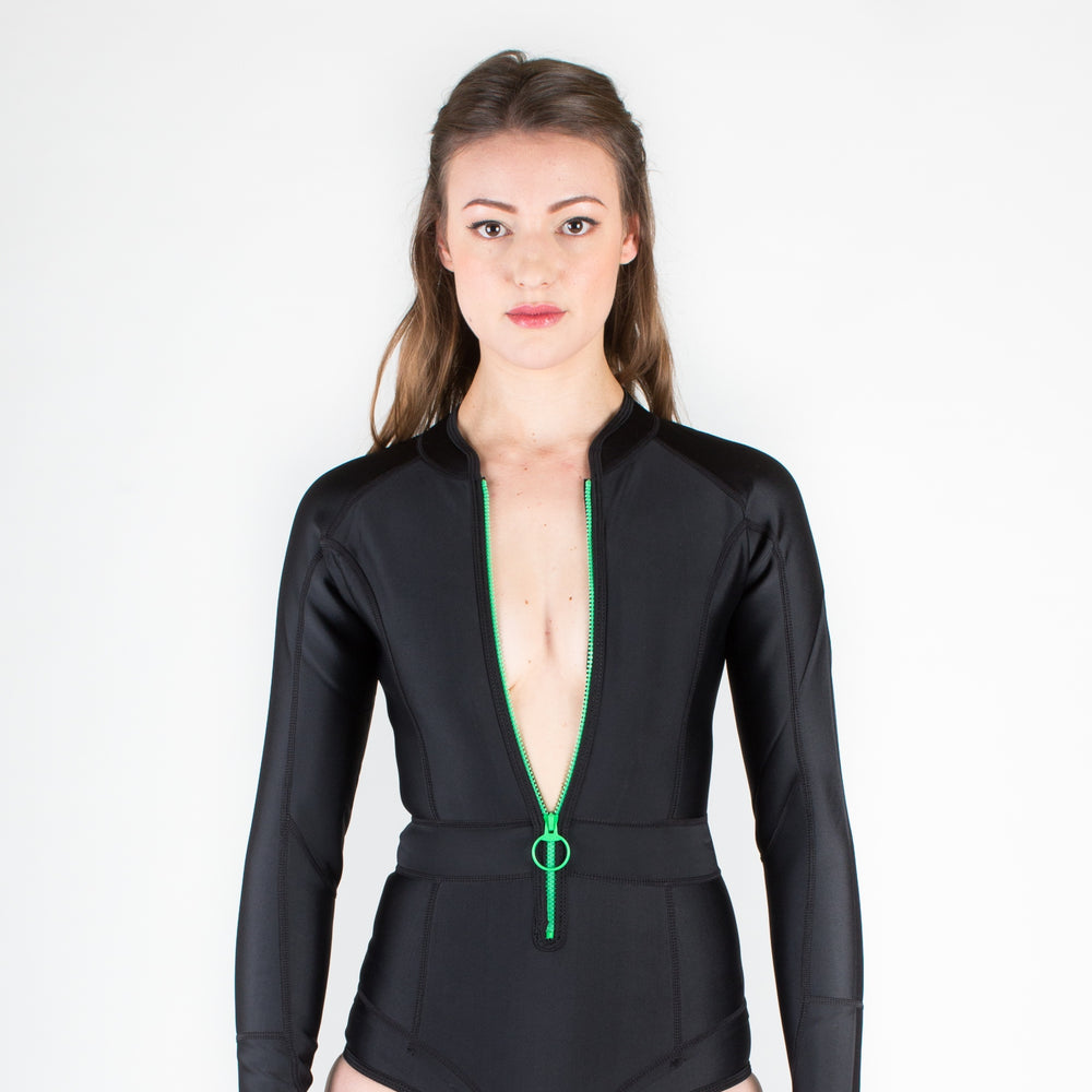 DUSKII Gisele Long-Sleeved Swimsuit in Ebony