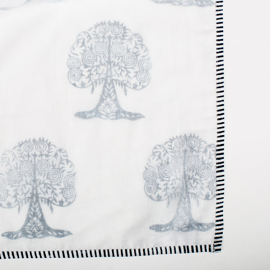 LAHAR SRIJANA Triple Layer Muslin Khasto in Indigo Tree