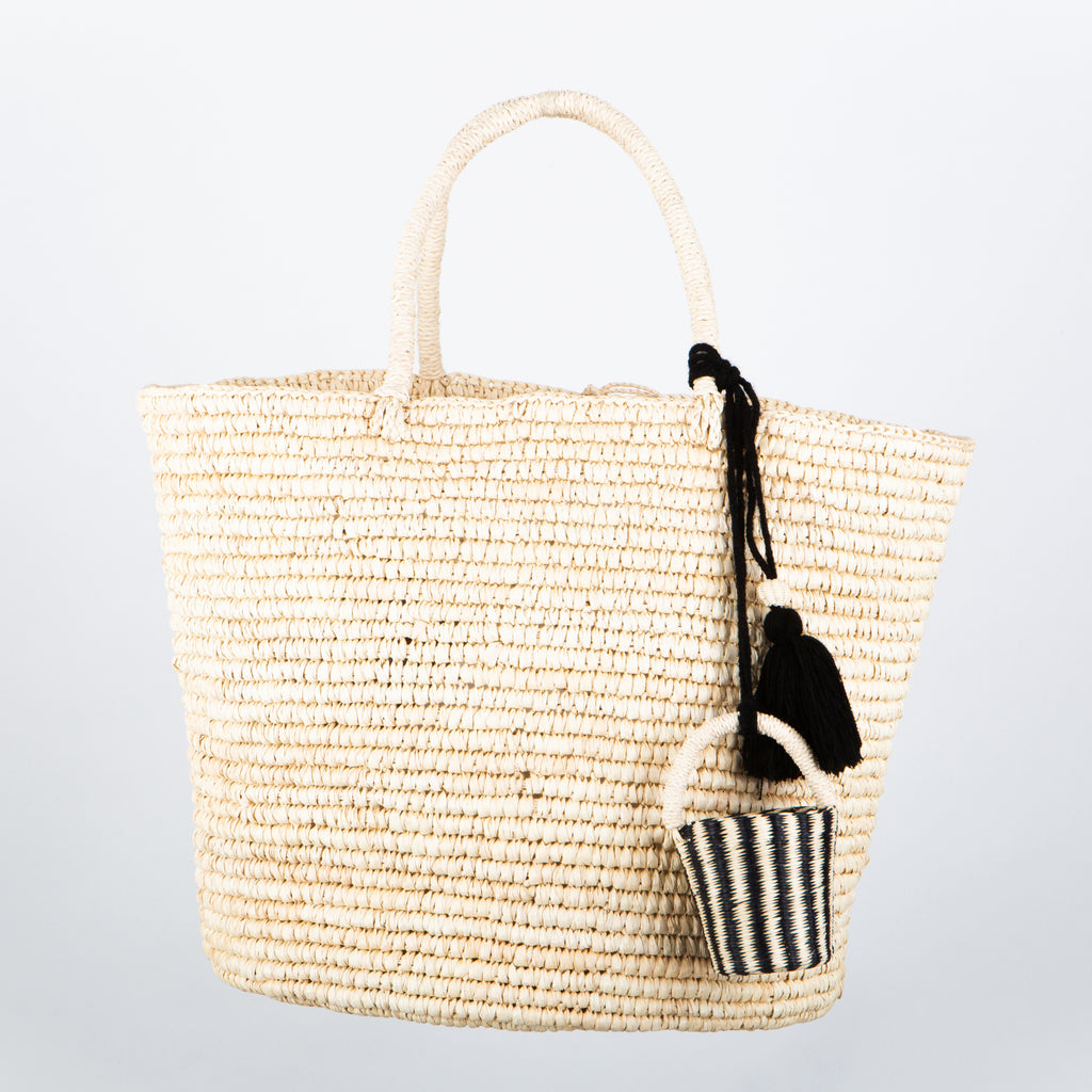 SENSI STUDIO Straw Maxi Tote with Charm