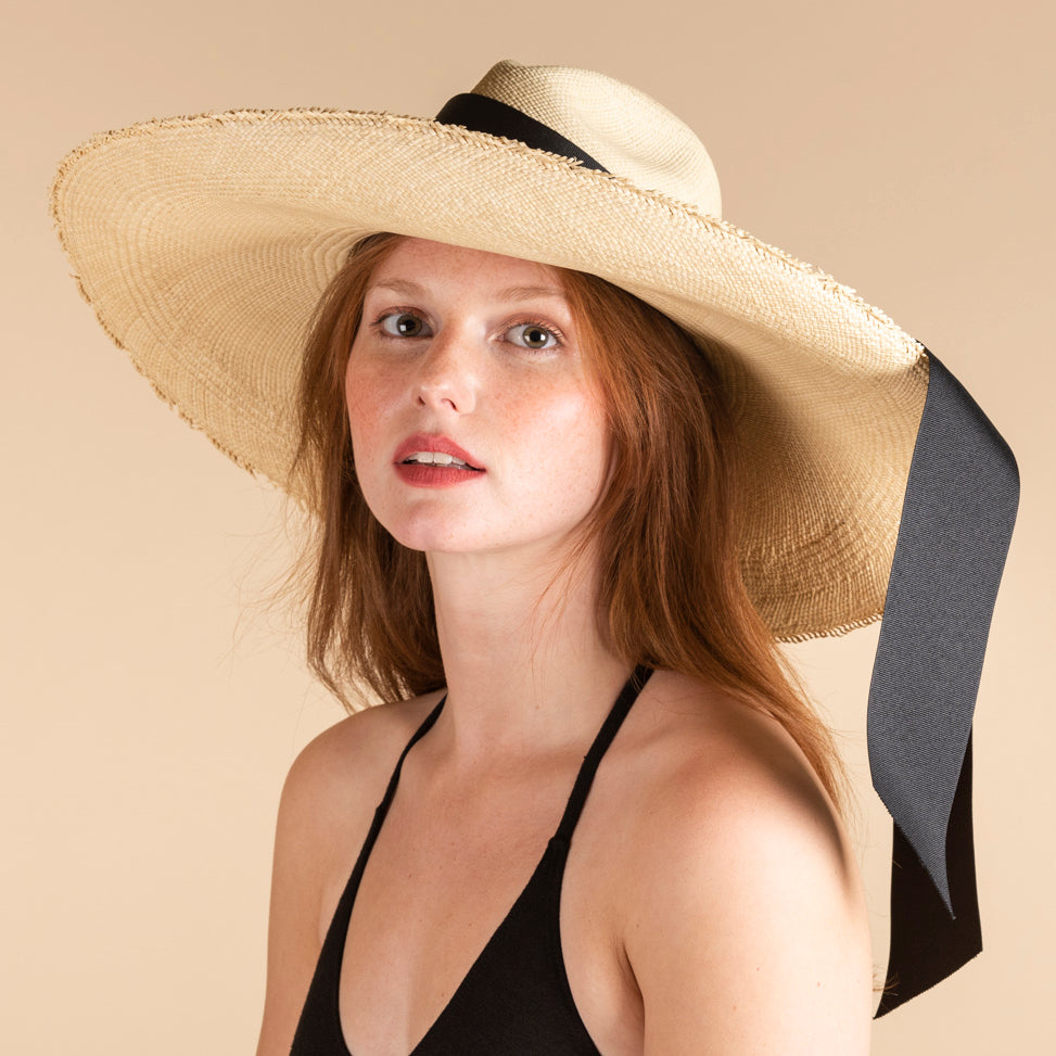 SENSI STUDIO Frayed Long Brim Panama Maxi Bow