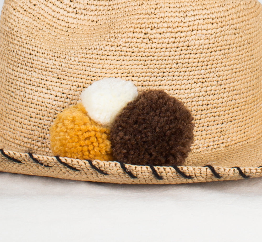 SENSI STUDIO Crochet Panama with PomPoms in Natural