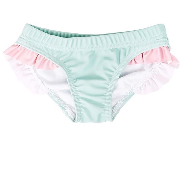 HARRY & POP Frill Bikini Bottoms in Great Ocean Green