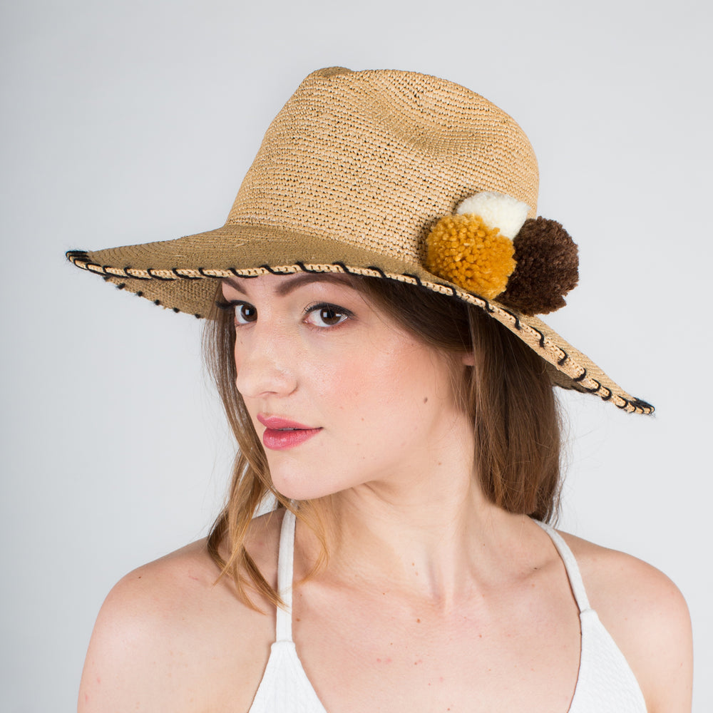 SENSI STUDIO Natural Crochet Panama with PomPoms