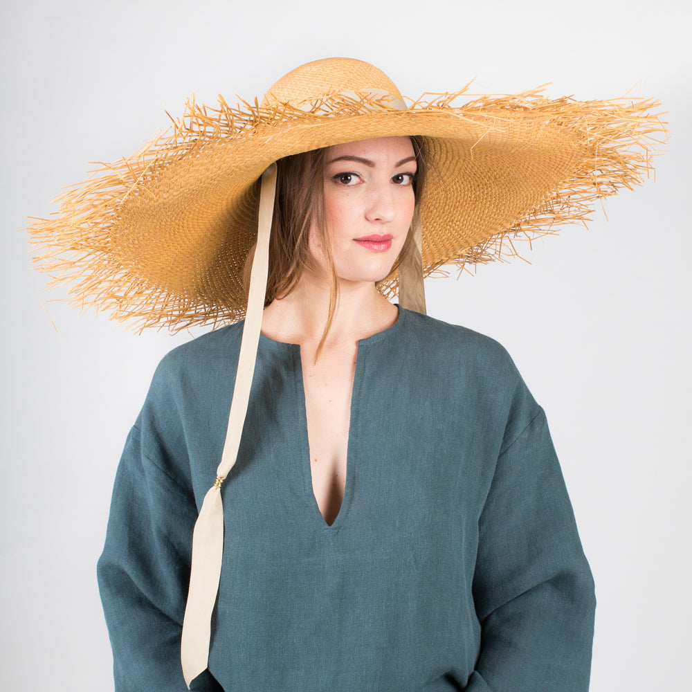 SENSI STUDIO Oversized Extra Frayed Straw Hat with Ribbons