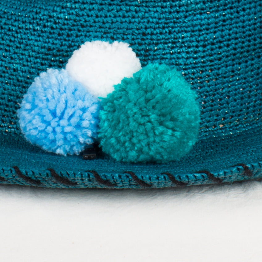 Turquoise Crochet Panama with PomPoms