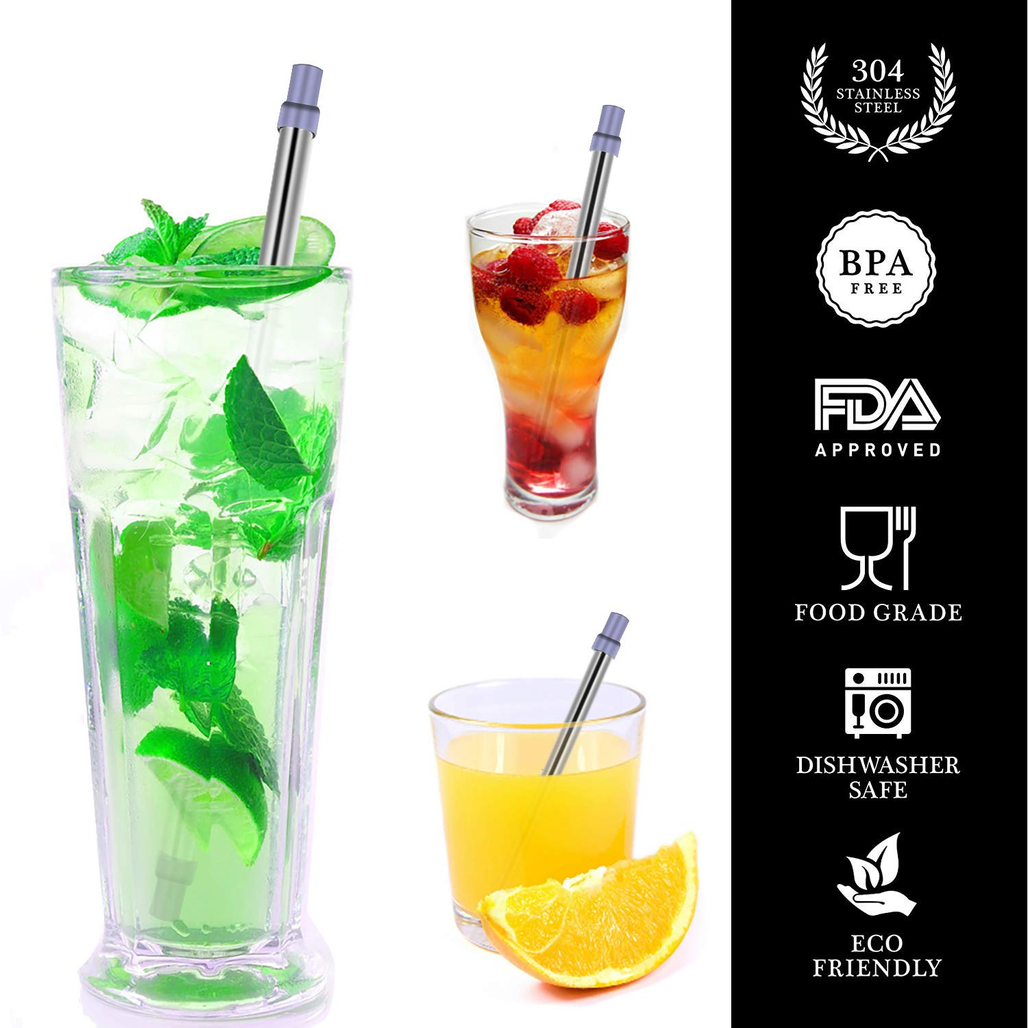 Stainless Steel Drinking Straws Telescopic Metal Straw with Brush Portable Storage Box