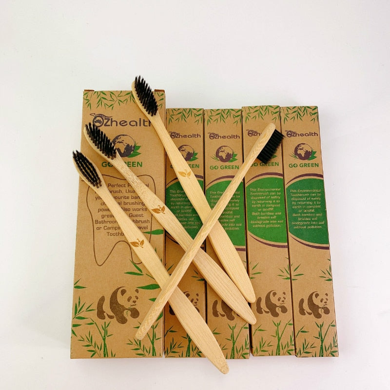 1Set/4 PCS  Bamboo Toothbrush with Charcoal Bristles