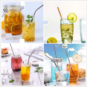 4 Set Stainless Steel Reusable Drinking Straw