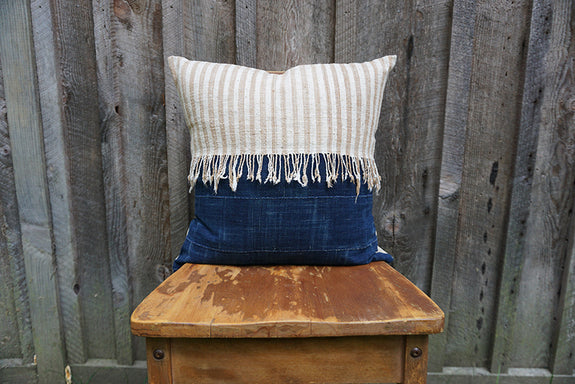 Edith - Vintage African Indigo and Indonesian Striped Cotton Pillow