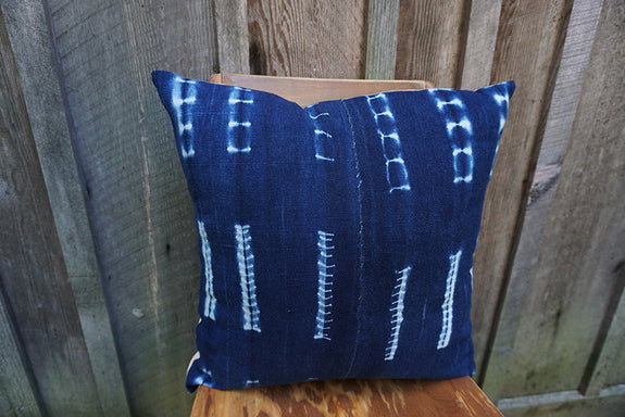 Blossom - Vintage African Indigo Pillow