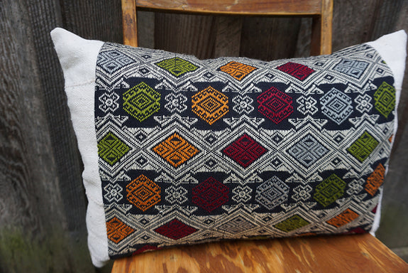 Eliana - Vintage Laotian Silk Textile with African Cotton Pillow