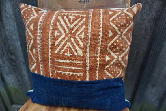 Shannon - African Mudcloth and Vintage Indigo Pillow