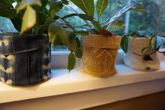 Black Mudcloth Plant Holder
