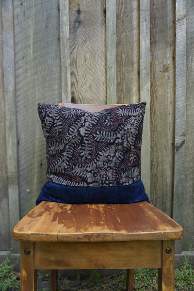 Sakura - Indonesian Batik with Vintage African Indigo Pillow