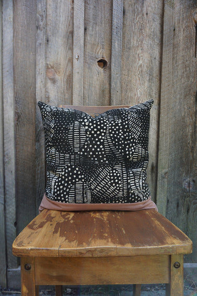 Vesta - African Mudcloth with Linen Pillow