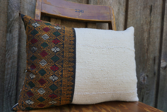 Delaney - Vintage Laotian Silk Textile with African Cotton Pillow