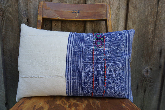 Janalee - Hmong Batik Textile with African Cotton Pillow