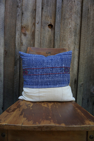 Ramona - Hmong Batik Textile with African Cotton Pillow