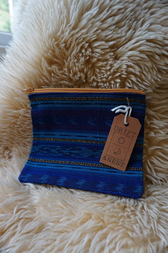 Colourful Zippered Pouch made from Hand Woven Guatemalan Fabric - #106