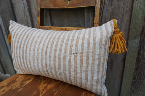Lilith - Indonesian Striped Cotton Pillow with Tassels