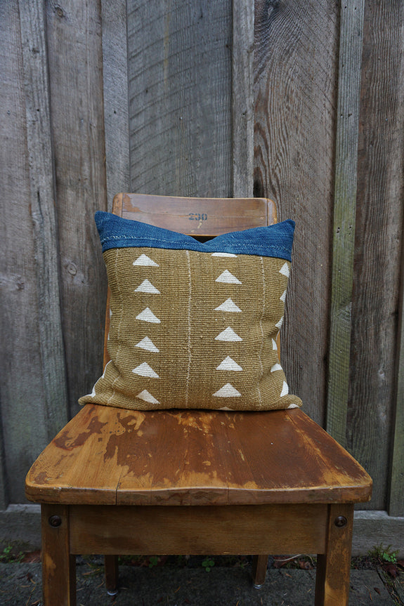 Glenna - African Mudcloth and Vintage Indigo Pillow