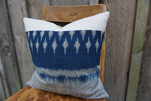 Helene - Thai Mudmee/Ikat and African Cotton Pillow
