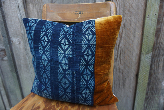 Margaret - Vintage African Indigo with Corduroy/Velvet Pillow