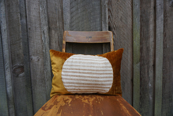 Lisann - Corduroy/Velvet with Indonesian Striped Cotton Pillow