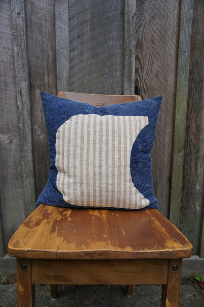 Evangeline - Indigo Thai Fabric with Indonesian Striped Cotton Pillow