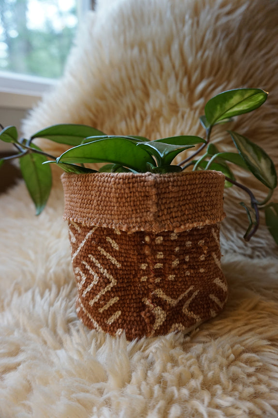 Rust Mudcloth Plant Holder