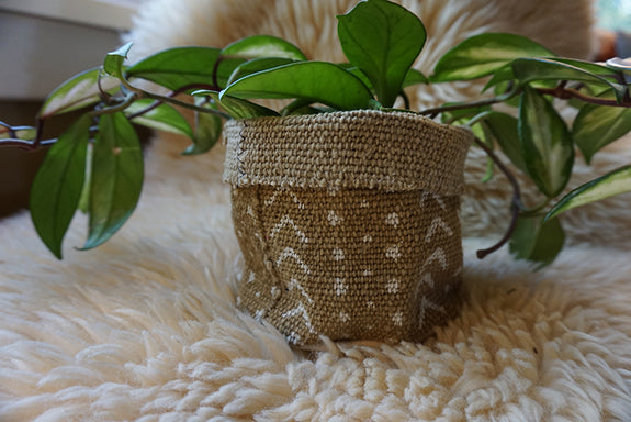 Tan Mudcloth Plant Holder