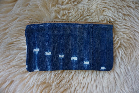 Zippered Pouch made from Vintage African Indigo - #234