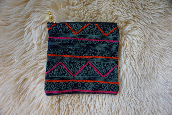 Zippered Pouch made from Thai Hmong Textile - #187