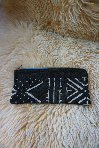 Zippered Pouch made from African Mudcloth - #219