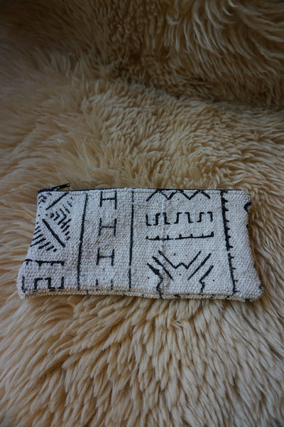Zippered Pouch made from African Mudcloth - #212