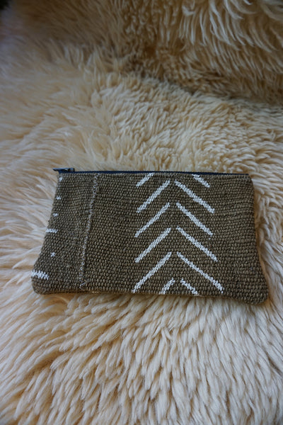 Zippered Pouch made from African Mudcloth - #218