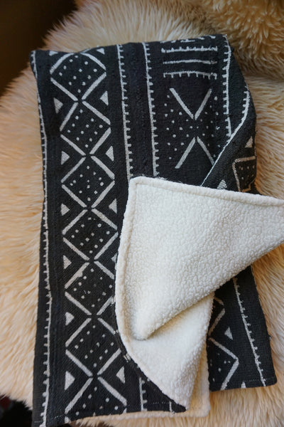 African Mudcloth Baby Blanket - Black