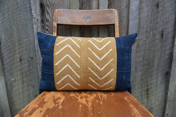 Zhavia - African Mudcloth and Vintage Indigo Pillow