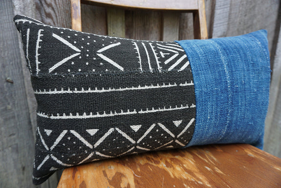 Emani - African Mudcloth and Vintage Indigo Pillow