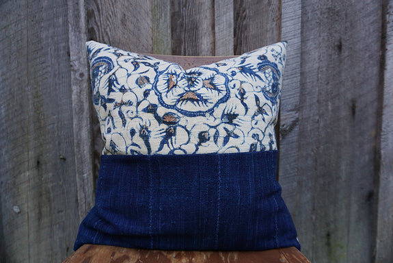 Effie - Indonesian Batik with African Indigo Pillow